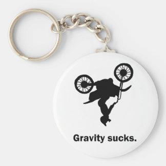 La gravedad chupa llavero de la bici de la sucieda