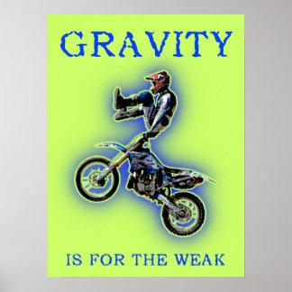 La gravedad está para el poster débil del motocrós