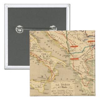 La Grece et l'Italie, 306 a 410, ap JC 2 Inch Square Button