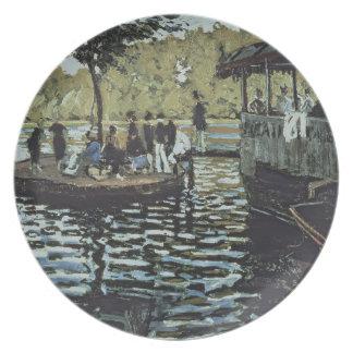 La Grenouillere 1869 oil on canvas Dinner Plates