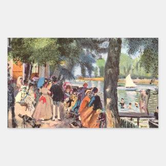 La Grenouillere by Pierre Renoir Rectangle Sticker