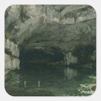 La gruta del Loue, 1864 Calcomanía Cuadrada Personalizada