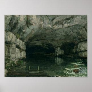 La gruta del Loue, 1864 Póster