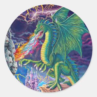 La guarida del dragón pegatina redonda