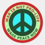 La guerra ahora no es paz antiabortista del salari pegatina redonda