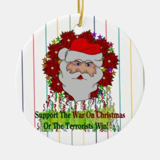 La guerra de Santa en Navidad Adorno Redondo De Cerámica