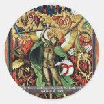 La guerra en el arcángel Michael del cielo en la Pegatina Redonda