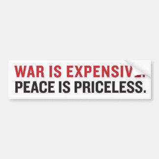La guerra es Exensive. Paz en inestimable Pegatina Para Auto