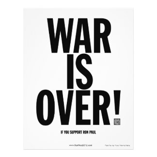 "La guerra está sobre el aviador de Ron Paul Folleto 8.5"" X 11"""