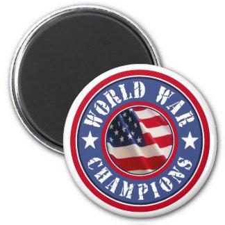 La guerra mundial de la bandera americana defiende imán redondo 5 cm