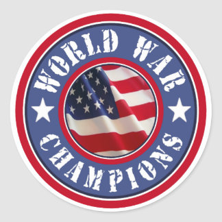 La guerra mundial de la bandera americana defiende pegatina redonda