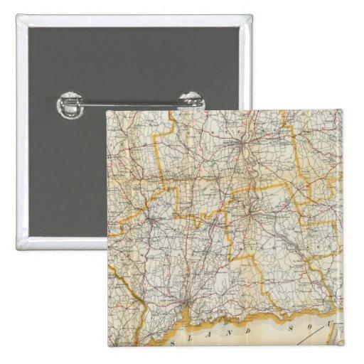 La guía de Mendenhall, mapa de camino Connecticut Pin Cuadrado
