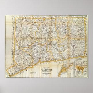 La guía de Mendenhall, mapa de camino Connecticut Póster