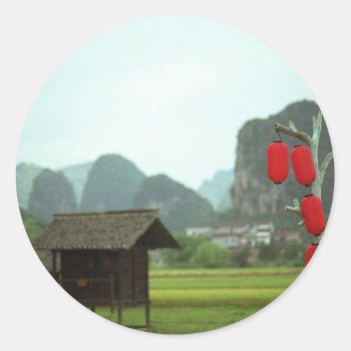 La Guilin China de Shangri Pegatina Redonda