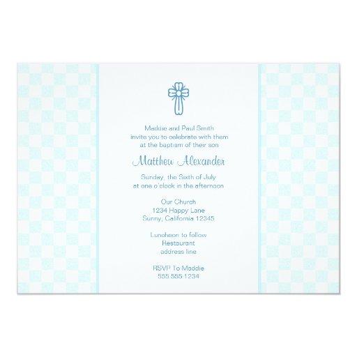 """La guinga azul invita con la cruz invitación 5"""" x 7"""""""