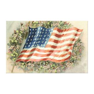 La guirnalda de la bandera de los E.E.U.U. florece Lienzo Envuelto Para Galerías
