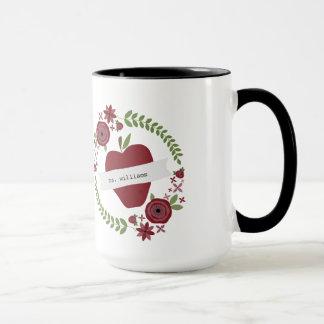 La guirnalda floral Apple rojo personalizó al Taza