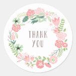 La guirnalda floral el | le agradece los pegatinas etiqueta redonda