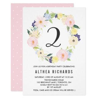 """La guirnalda floral en colores pastel embroma la invitación 5"""" x 7"""""""