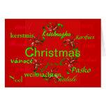 """La """"guirnalda roja del navidad en todo el mundo"""" c felicitaciones"""