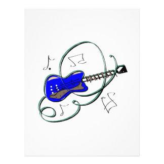"""la guitarra abstracta observa la música blue.png folleto 8.5"""" x 11"""""""