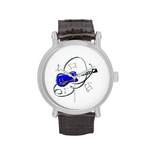 la guitarra abstracta observa la música blue.png reloj