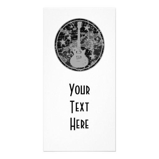 La guitarra apenada protagoniza la oscuridad BW de Tarjetas Con Fotos Personalizadas