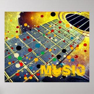 La guitarra ata el vintage colorido de la música posters