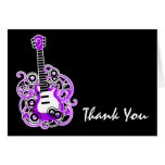 La guitarra de la estrella del rock púrpura y negr tarjetas