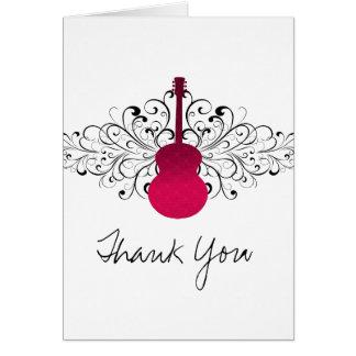 La guitarra de los remolinos de las rosas fuertes  tarjetas