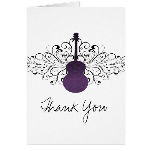 La guitarra púrpura de los remolinos le agradece c tarjeta pequeña