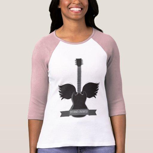 La guitarra se va volando el raglán de las señoras camiseta