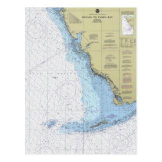 La Habana a la carta náutica Postcar de Tampa Bay  Tarjeta Postal