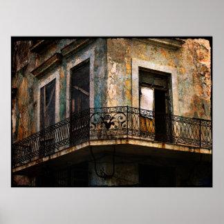 La Habana, impresión vieja de la lona del balcón Póster
