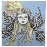 La hada colorida w BG azul de la luna diseña Servilletas