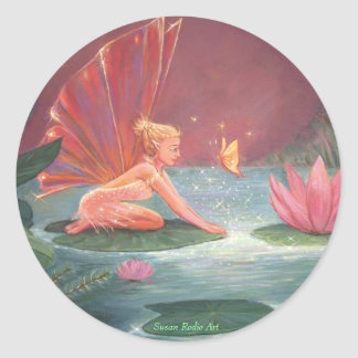 La hada de la charca de Lotus Pegatinas Redondas