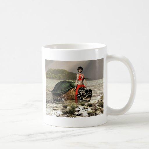 La hada monta una tortuga taza de café