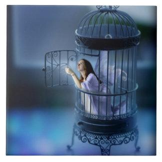 La hada que la escapaba doró la jaula azulejo cuadrado grande