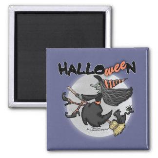 La Halloween-Bruja feliz dice Wee Imán Cuadrado