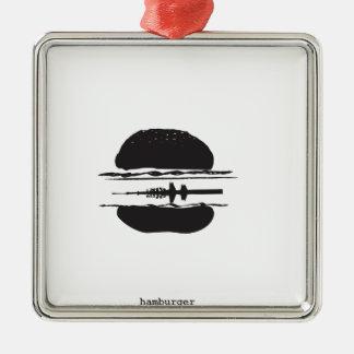 La hamburguesa adorno navideño cuadrado de metal
