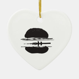 La hamburguesa adorno navideño de cerámica en forma de corazón
