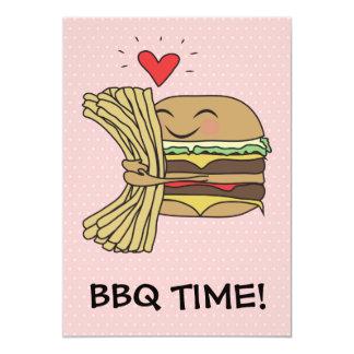 """La hamburguesa ama el Bbq de las fritadas Invitación 5"""" X 7"""""""