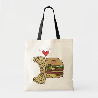 La hamburguesa ama las fritadas bolsa tela barata