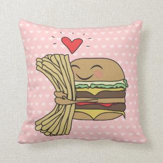 La hamburguesa ama las fritadas cojín