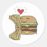 La hamburguesa ama las fritadas pegatinas redondas