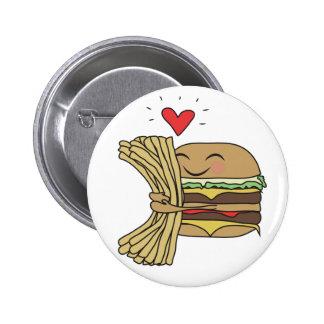 La hamburguesa ama las fritadas pin redondo de 2 pulgadas