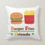 La hamburguesa del dibujo animado de Kawaii fríe a