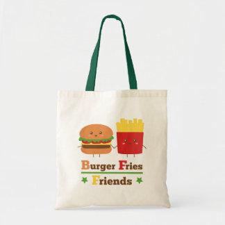 La hamburguesa del dibujo animado de Kawaii fríe a Bolsas De Mano