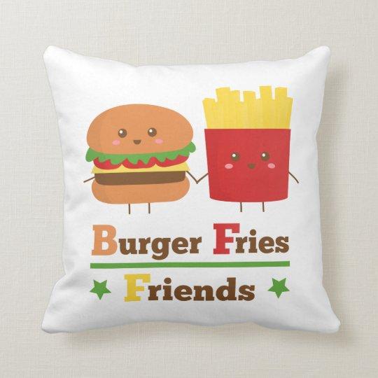 La hamburguesa del dibujo animado de Kawaii fríe a Cojín Decorativo