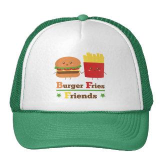 La hamburguesa del dibujo animado de Kawaii fríe a Gorros